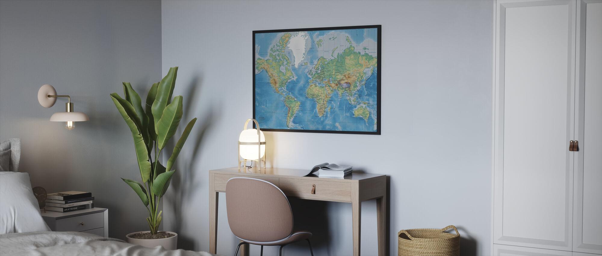 Maailmankartta Yksityiskohtainen - Kehystetty kuva - Makuuhuone