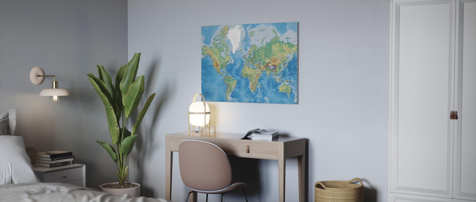 Weltkarte detailliert - Leinwandbild - Büro