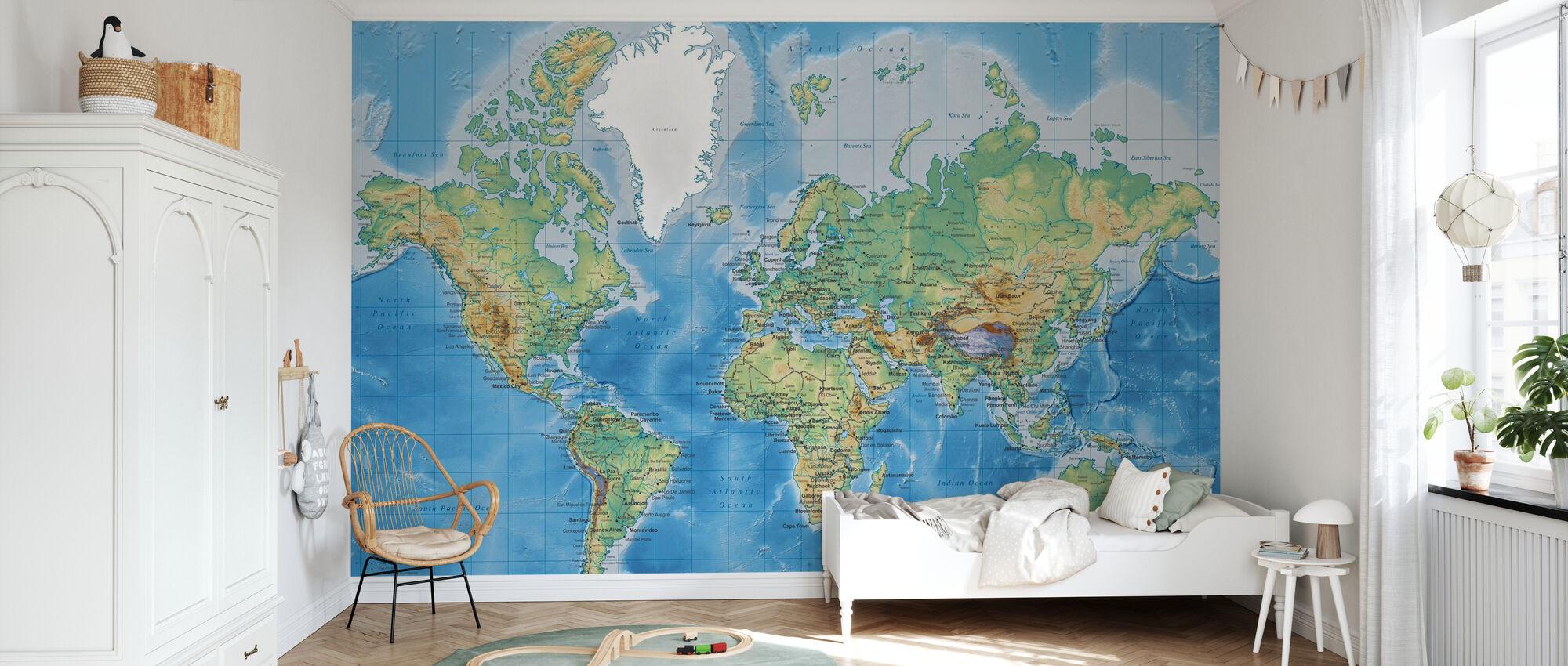 Detaljert verdenskart - Tapet - Barnerom