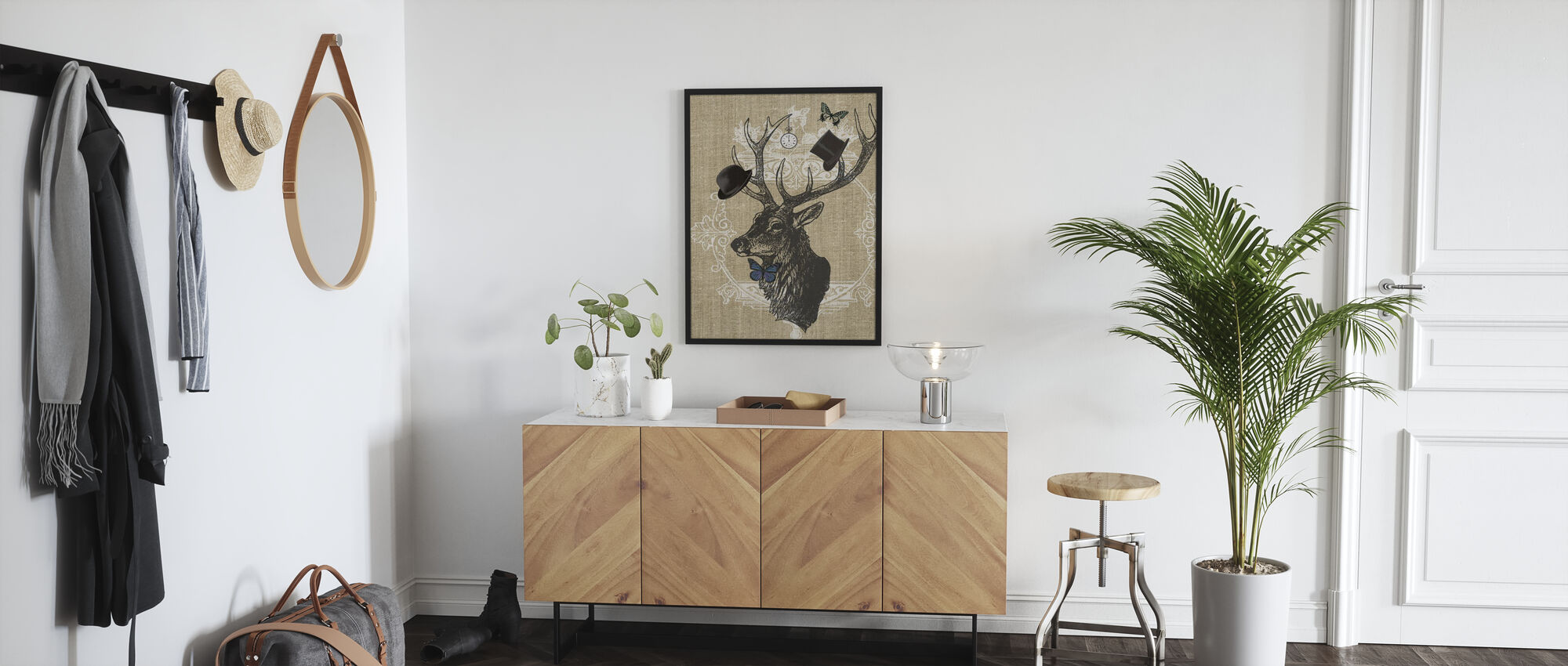 Gentleman Stag Butterfly Linen - Poster - Hallway