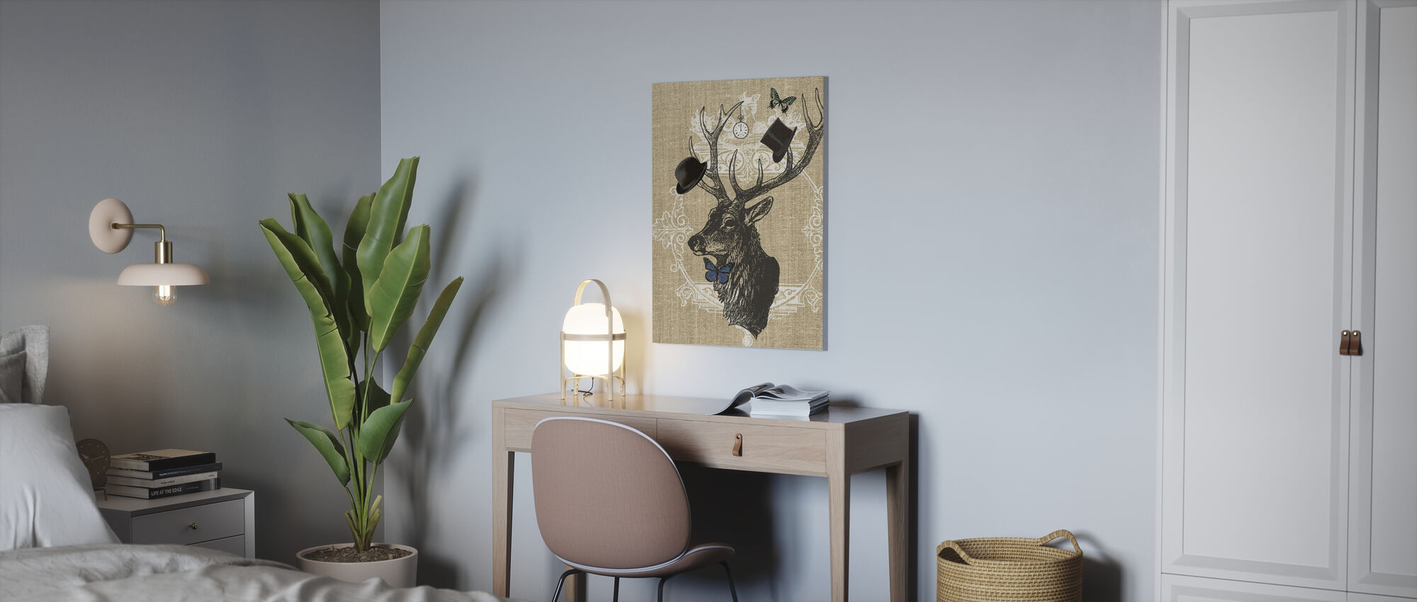 Gentleman Stag Butterfly Linen - Canvas print - Office