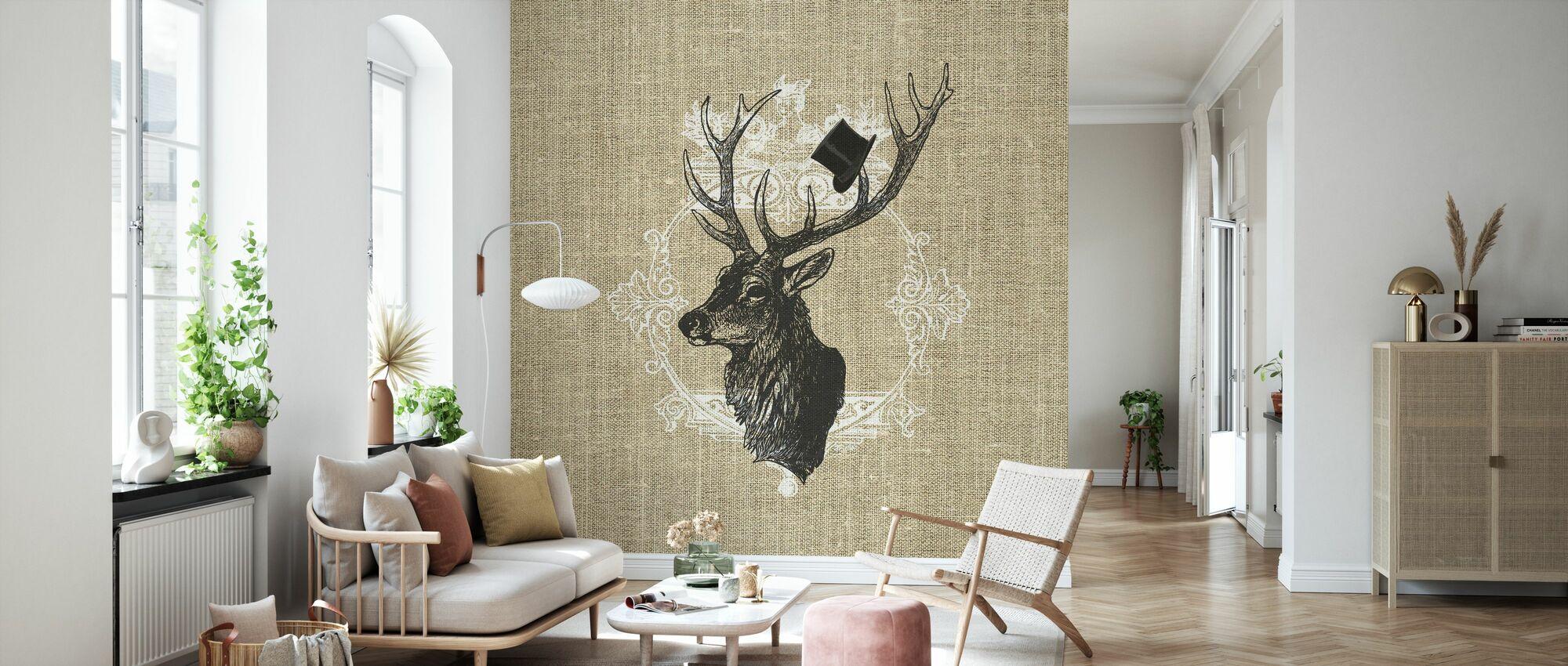 Gentleman Stag Linen - Wallpaper - Living Room
