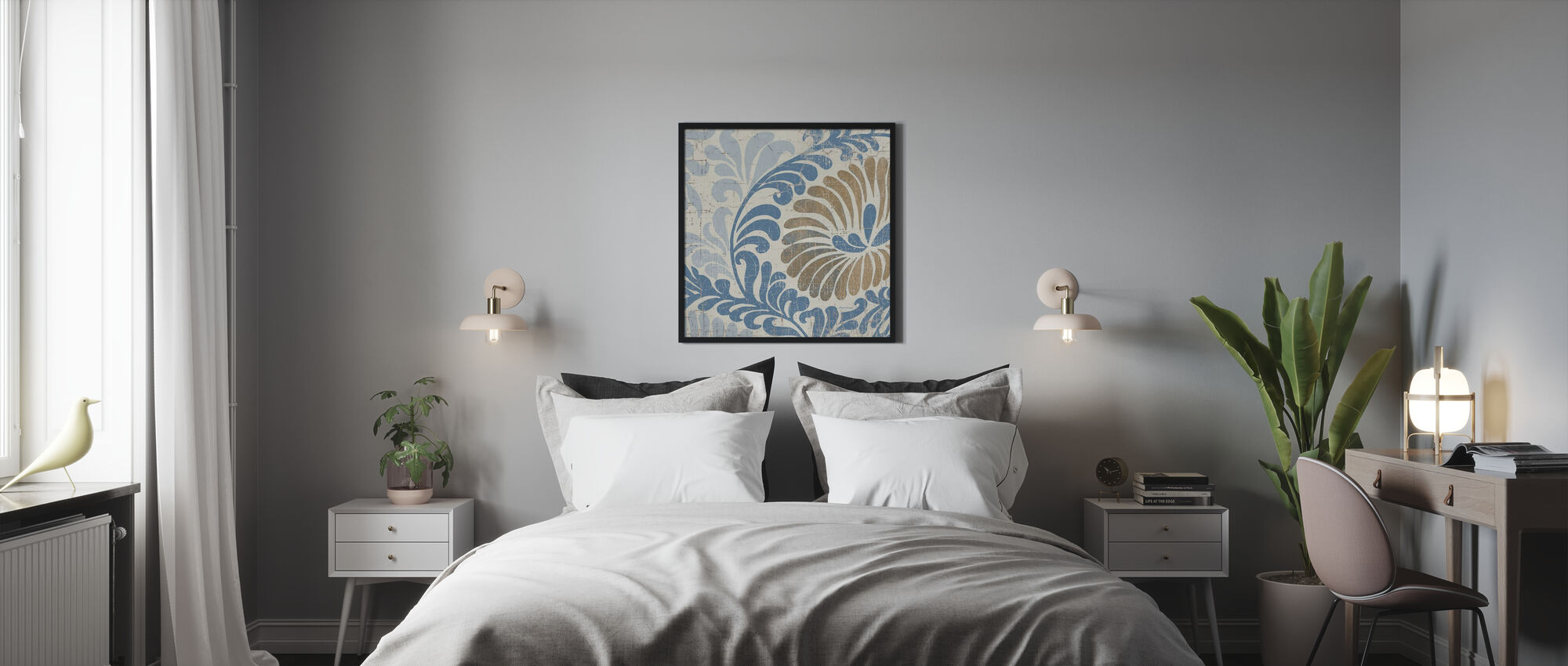 Sininen Shanghai - Kehystetty kuva - Makuuhuone