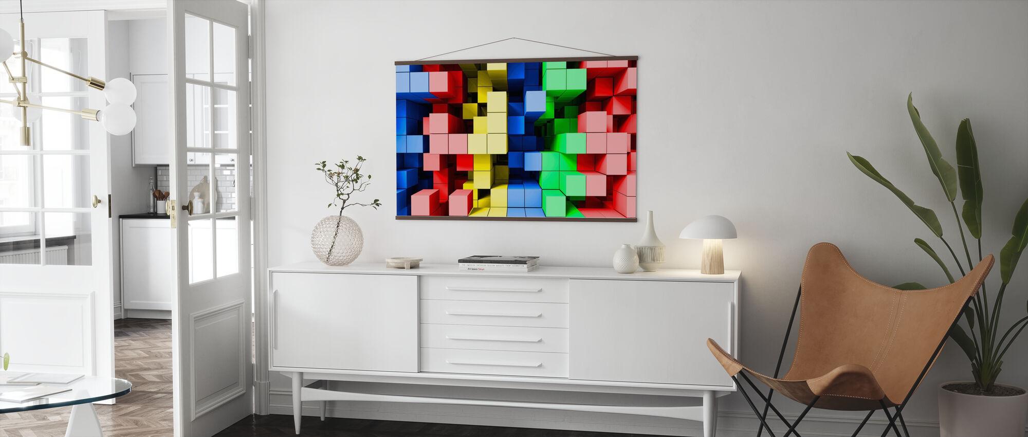 Diepe tetris kleur - Poster - Woonkamer