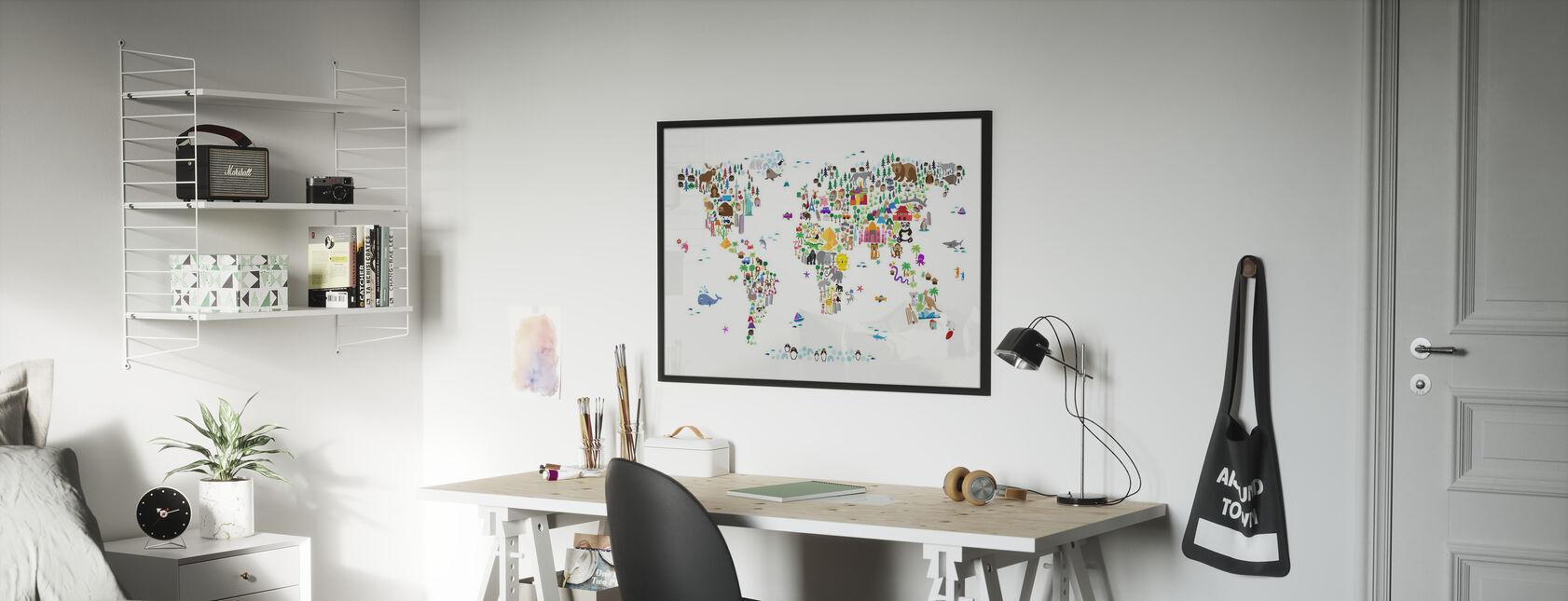 Tierkarte der Welt - Gerahmtes bild - Kinderzimmer