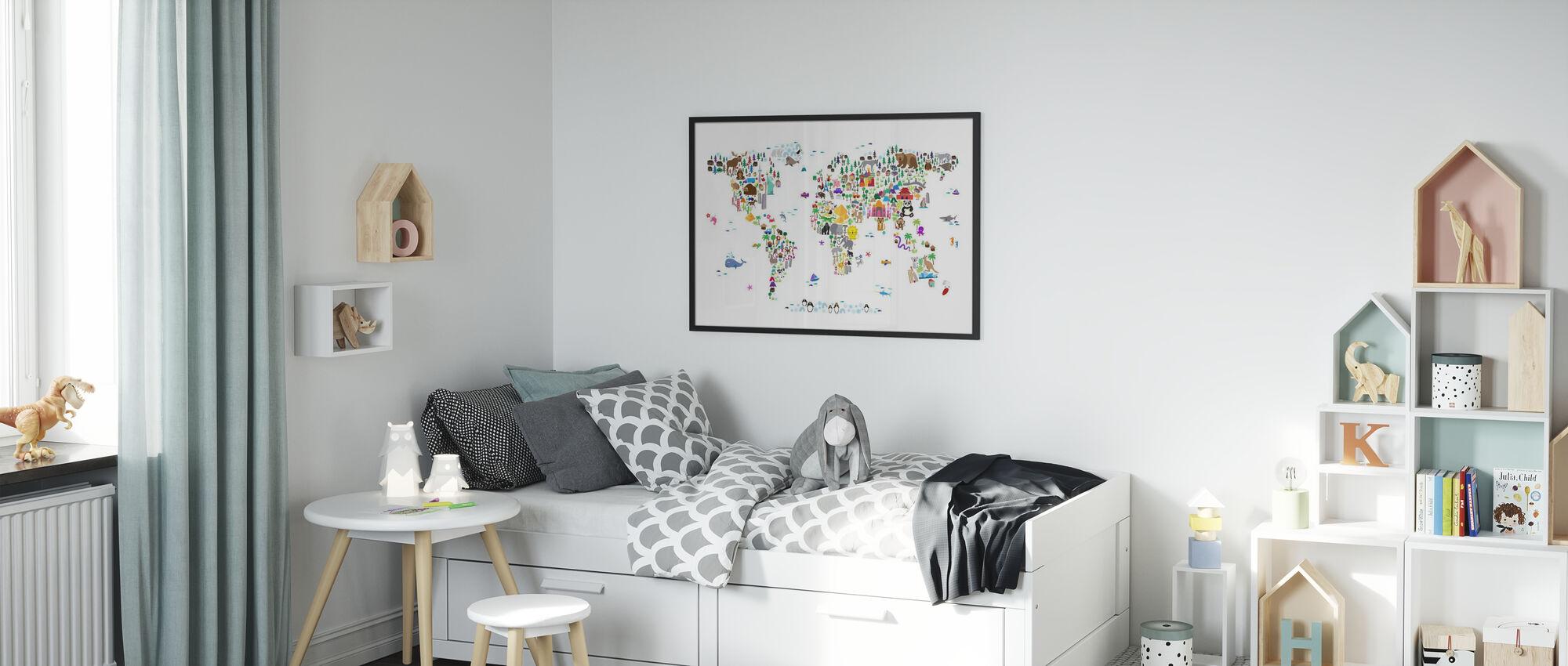 Dierenkaart van de Wereld - Poster - Kinderkamer