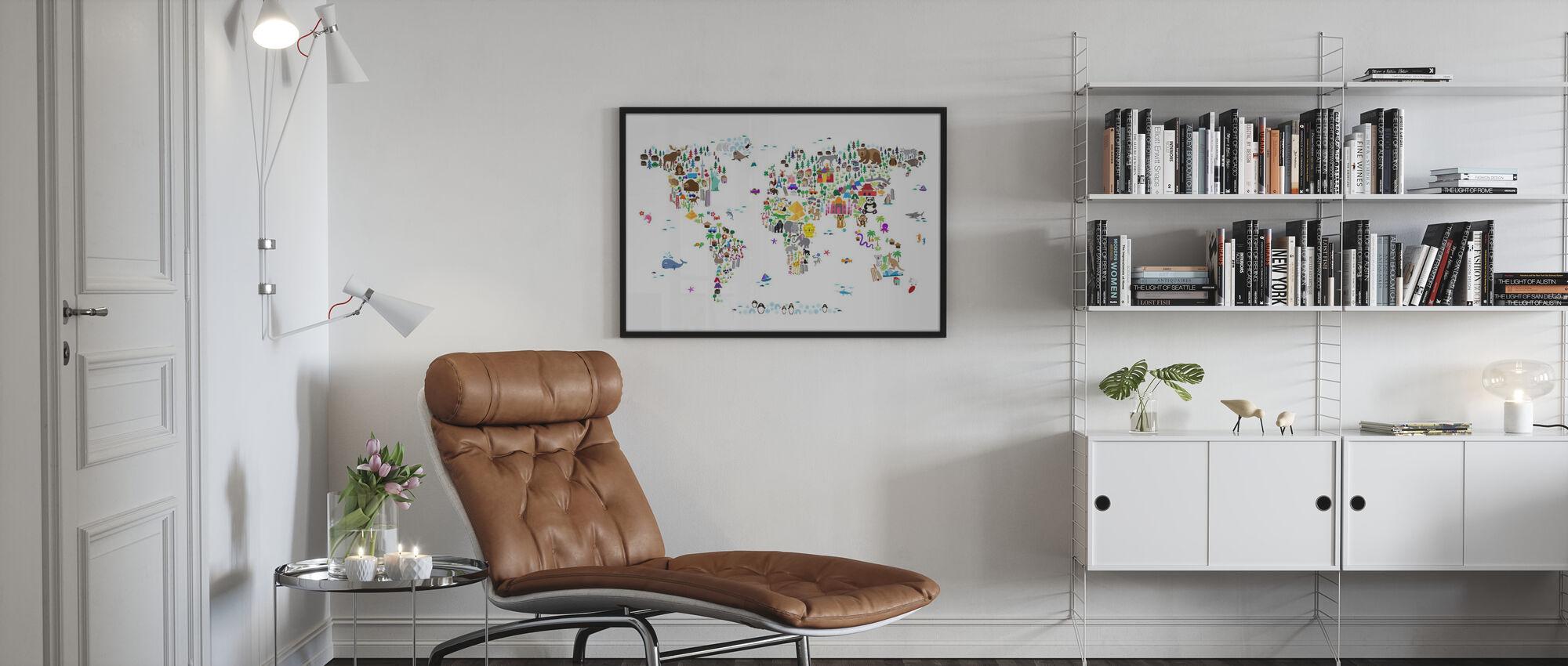 Animal Map of the World - Framed print - Living Room