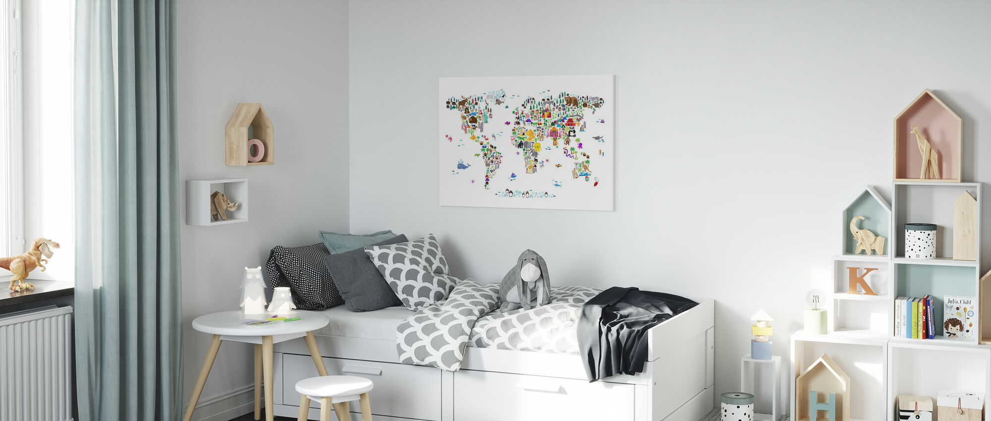 Animal Map of the World - Canvas print - Kids Room