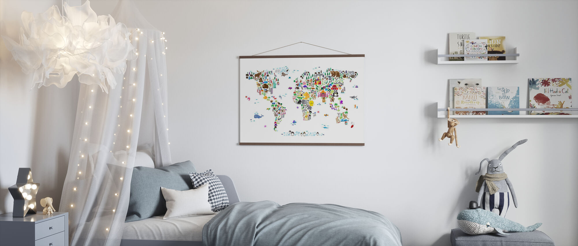 Animal Map of the World - Poster - Kids Room