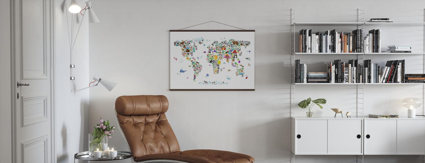Dierenkaart van de Wereld - Poster - Woonkamer