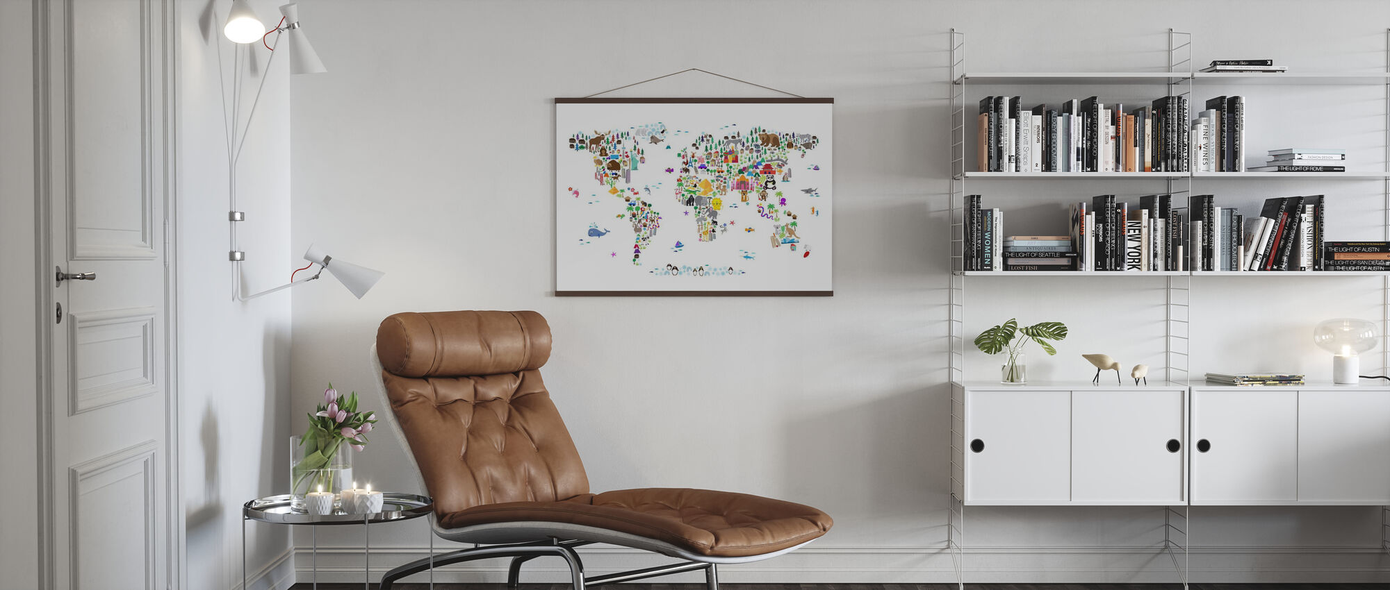 Dyrekart over verden - Plakat - Stue