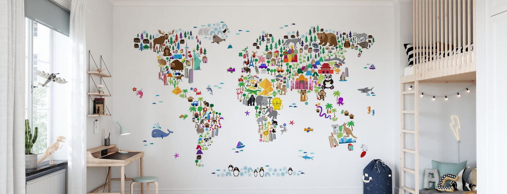 Animal Map of the World - Wallpaper - Kids Room