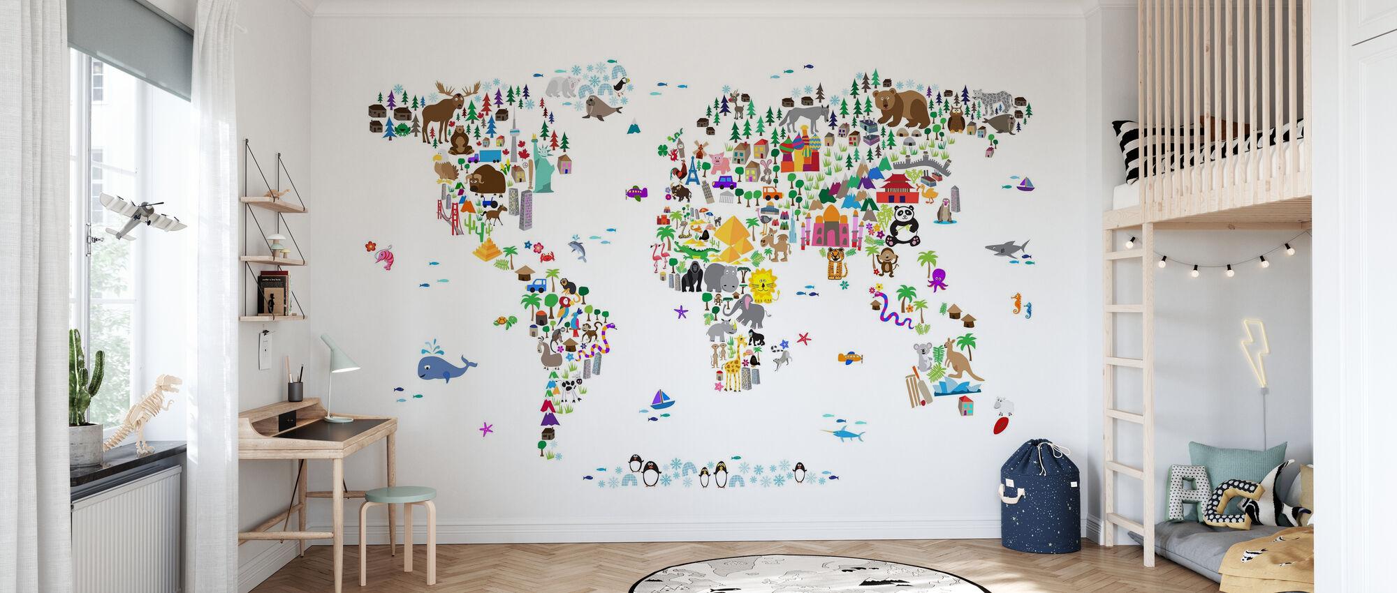 Animal Map of the World - Wallpaper - Kids Room
