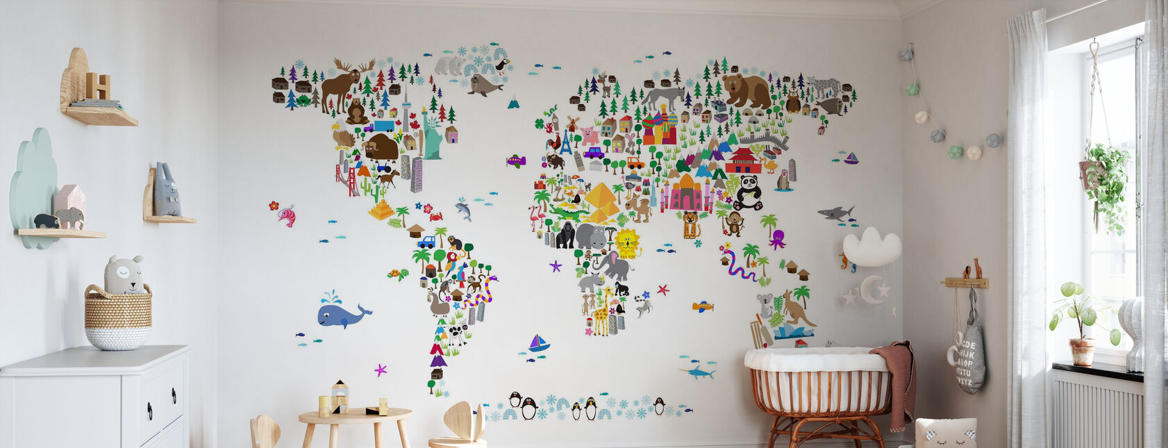 Animal Map of the World - Wallpaper - Nursery