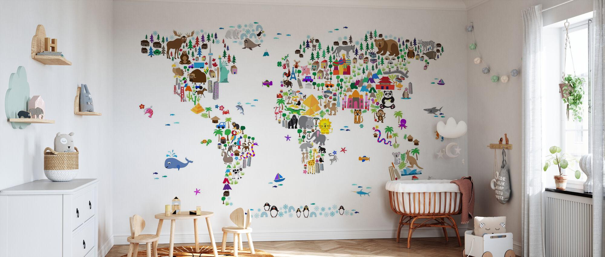 Animal Map of the World - Wallpaper - Nursery