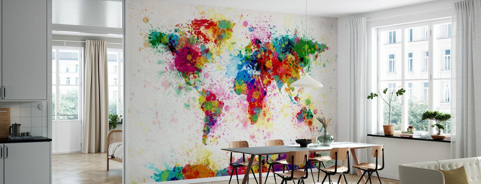 Paint Splashes Map - Wallpaper - Kitchen