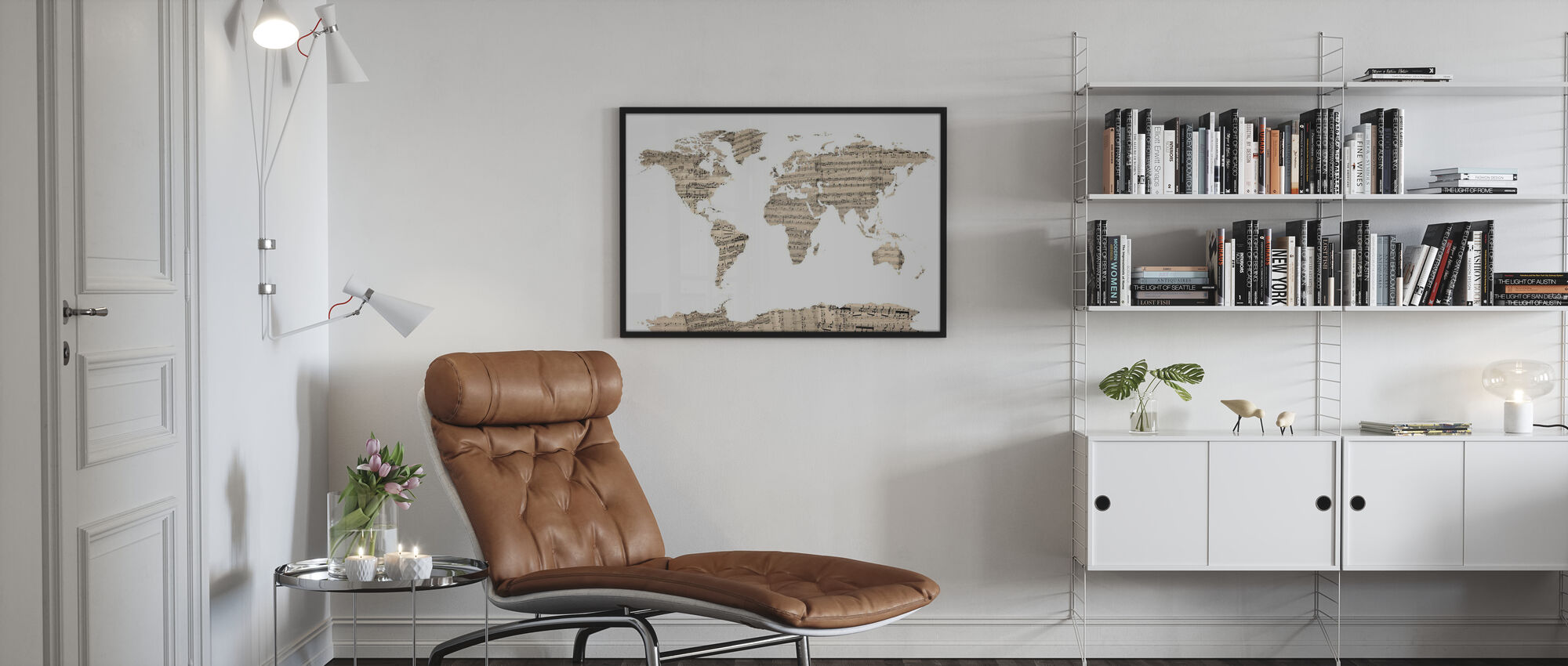 Old Music Sheet World Map - Poster - Living Room