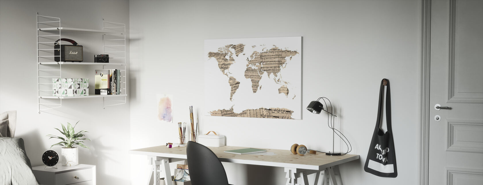 Old Music Sheet World Map - Canvas print - Kids Room