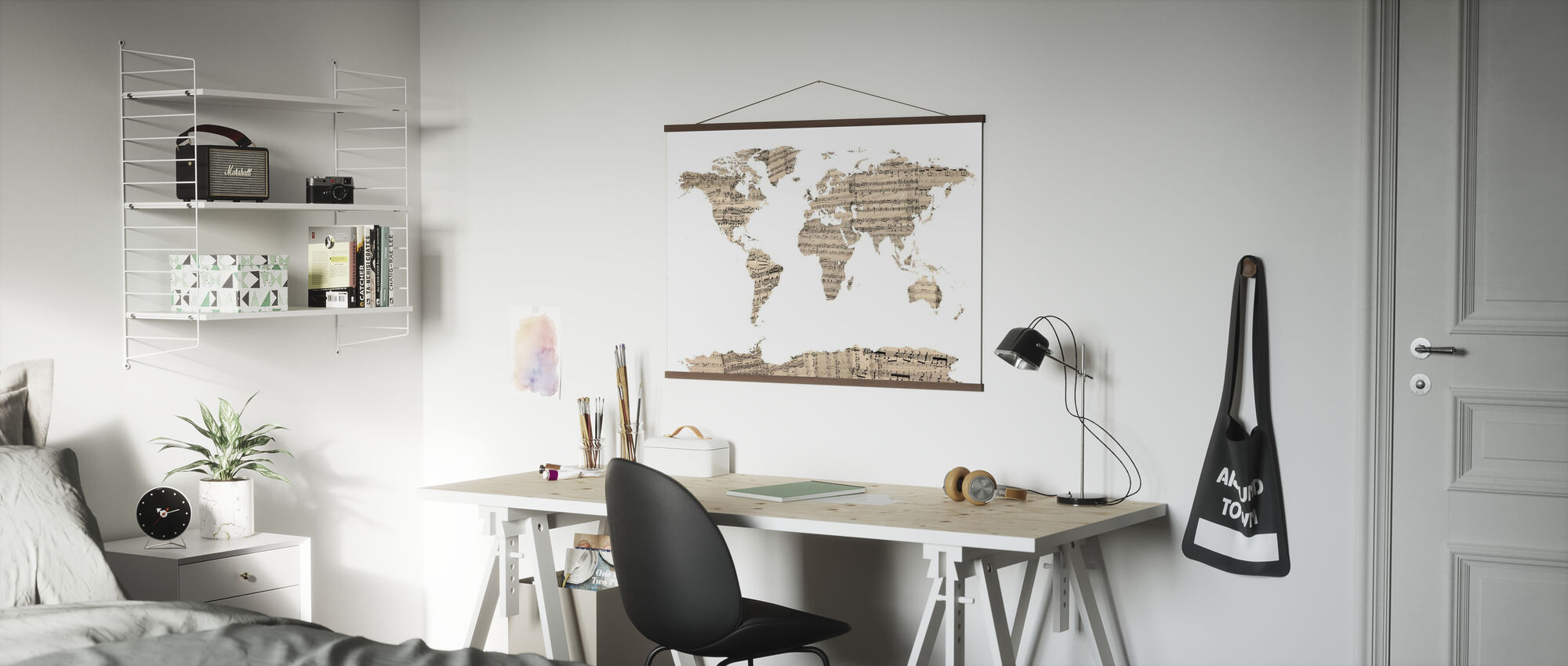 Old Music Sheet World Map - Poster - Office