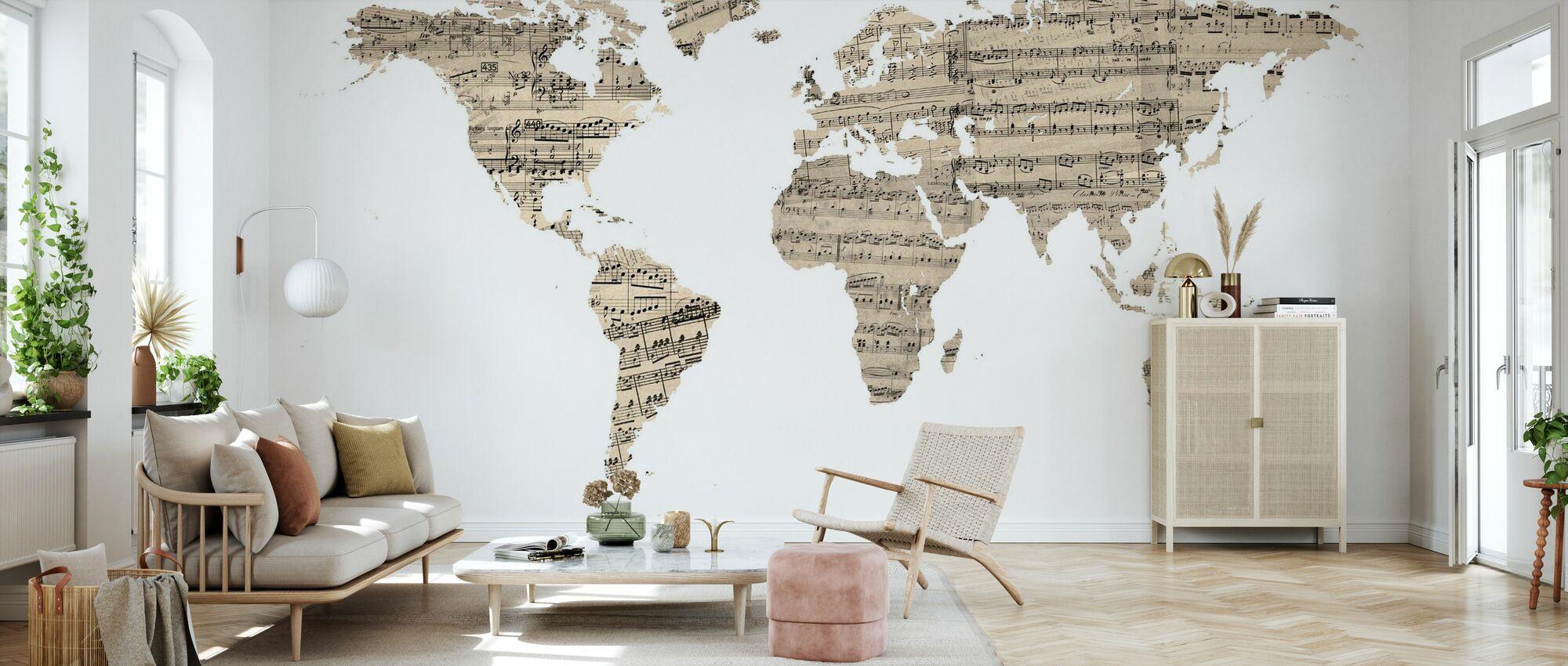 Old Music Sheet Mapa del Mundo - Papel pintado - Salón