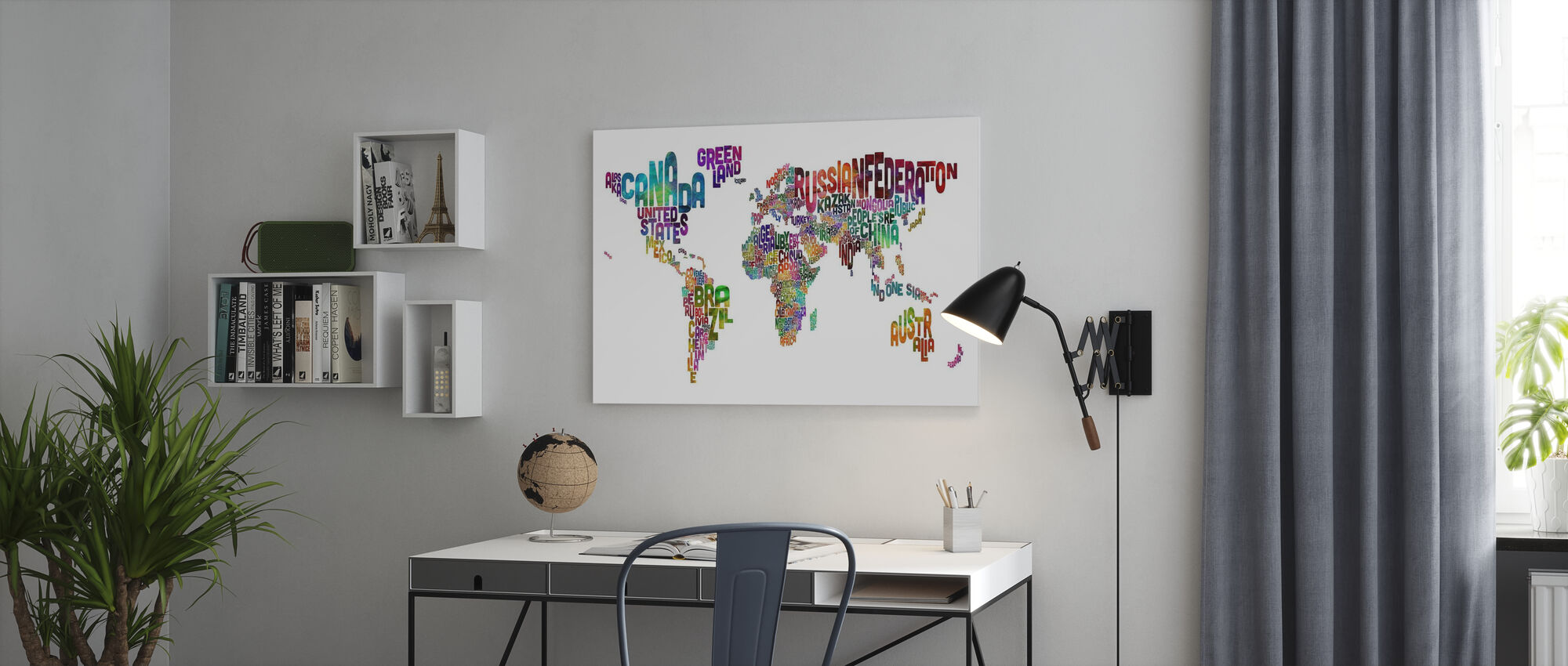 Typographic Text World Map - Canvas print - Office