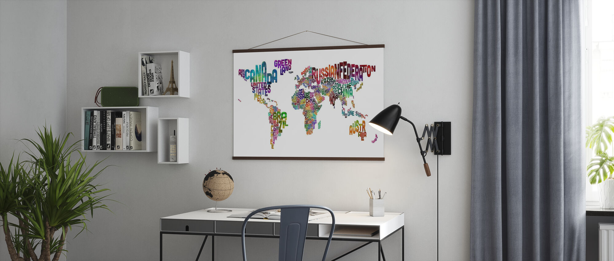 Typographic Text World Map - Poster - Office