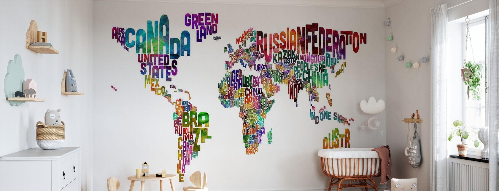 Typographic Text World Map - Wallpaper - Nursery