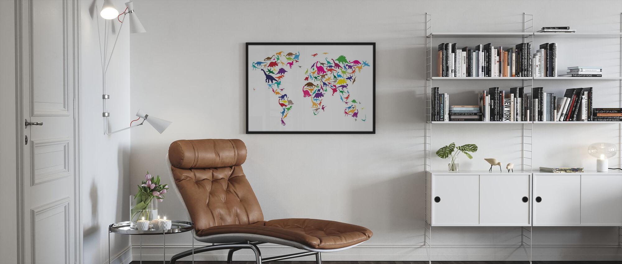 Mappa del mondo dei dinosauri - Stampa incorniciata - Salotto