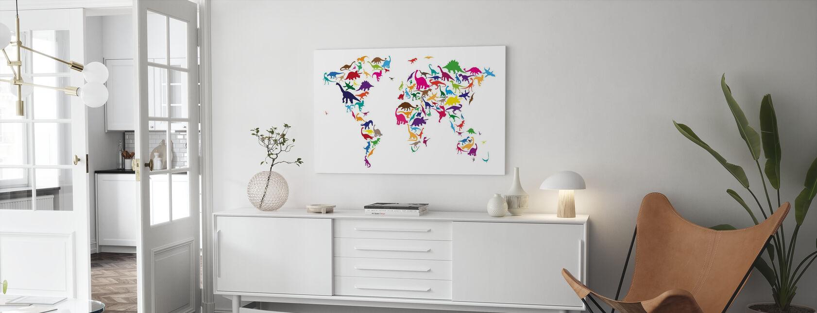 Dinosaur World Map - Canvas print - Living Room