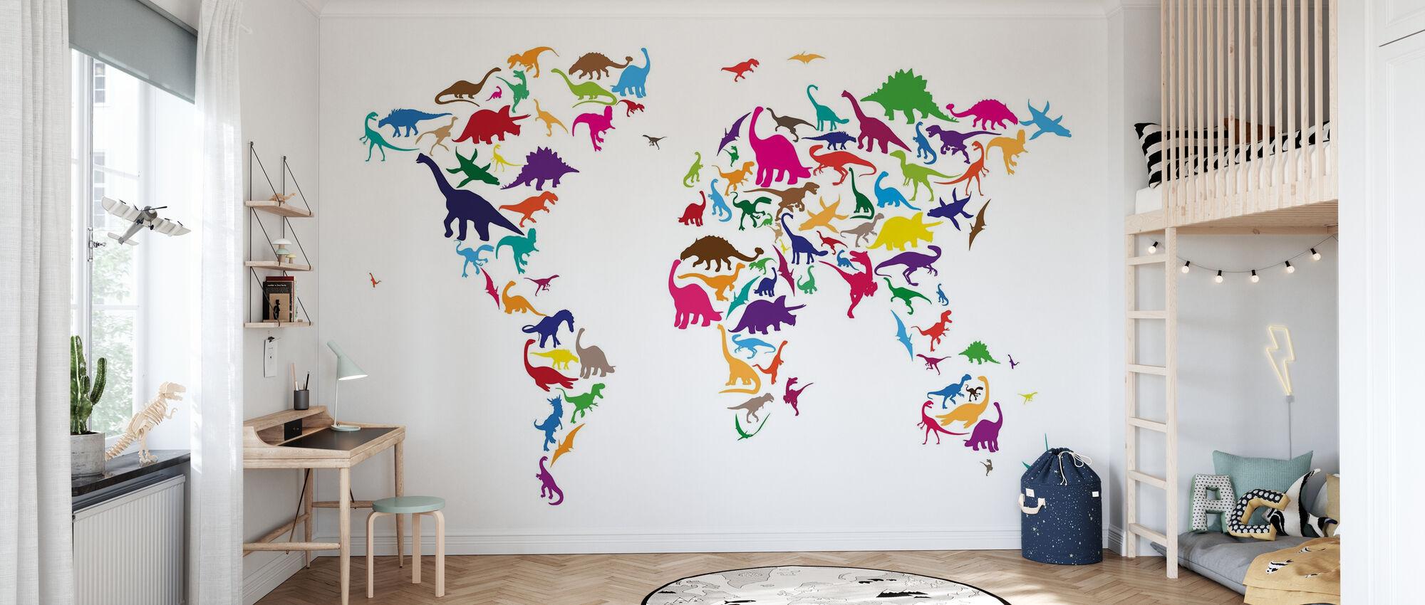 Mapa świata dinozaurów - Tapeta - Pokój dziecięcy