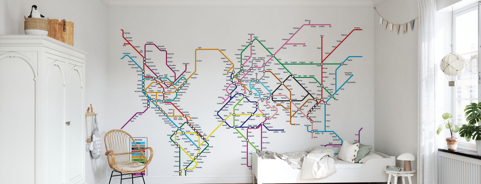 Metro World Map - Wallpaper - Kids Room