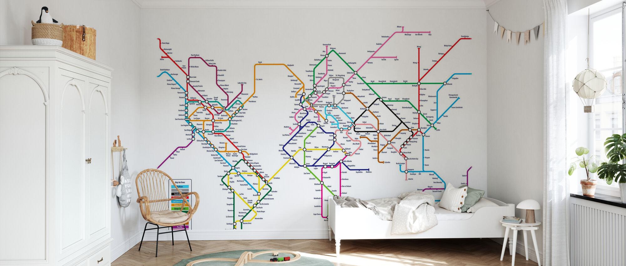 Metro World Map - Wallpaper - Kids Room