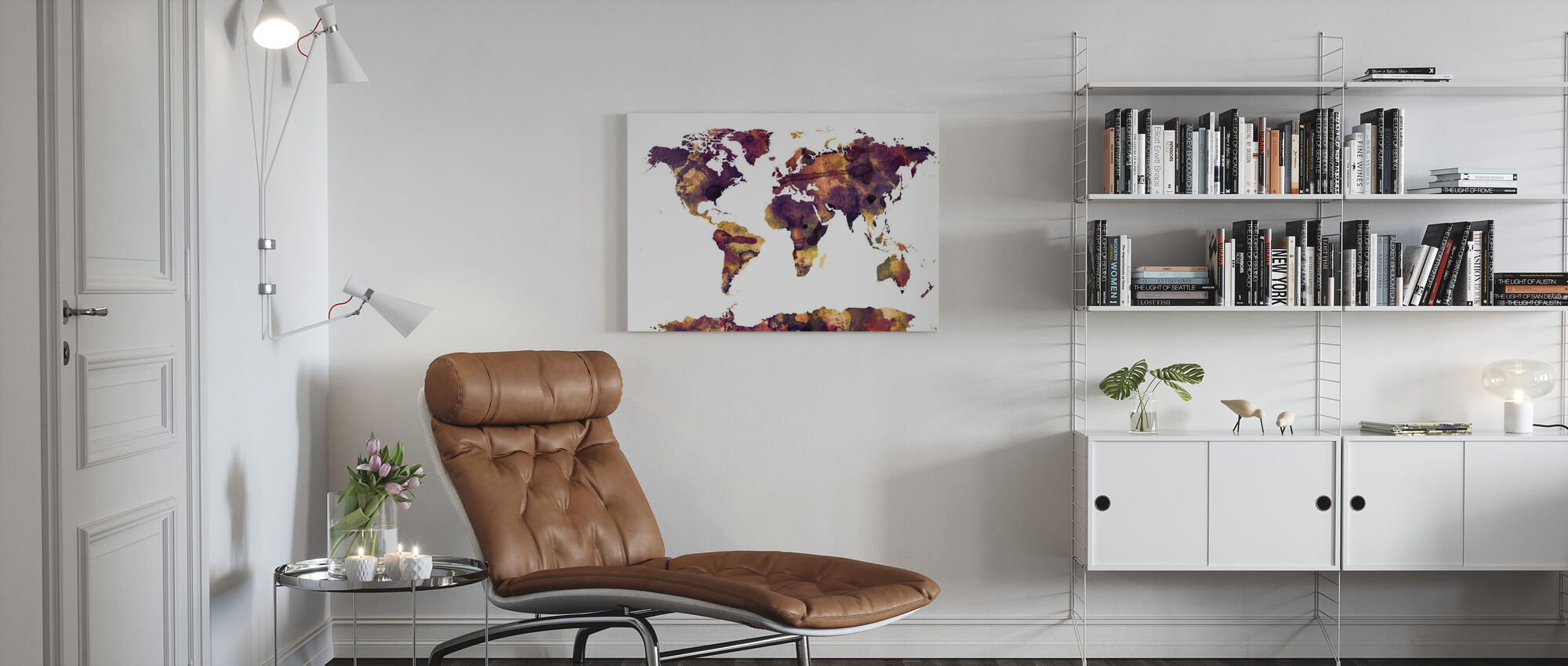 Watercolor World Map Purple - Canvas print - Living Room