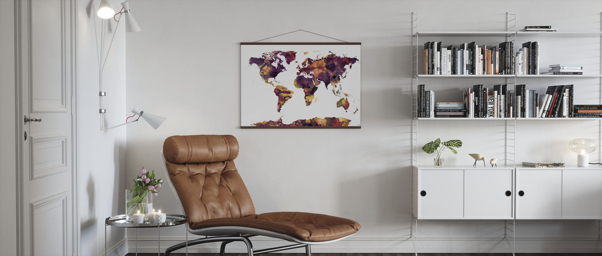 Watercolor World Map Purple - Poster - Living Room