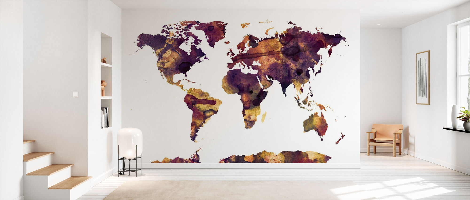 Acuarela Mapa del Mundo Púrpura - Papel pintado - Corredor