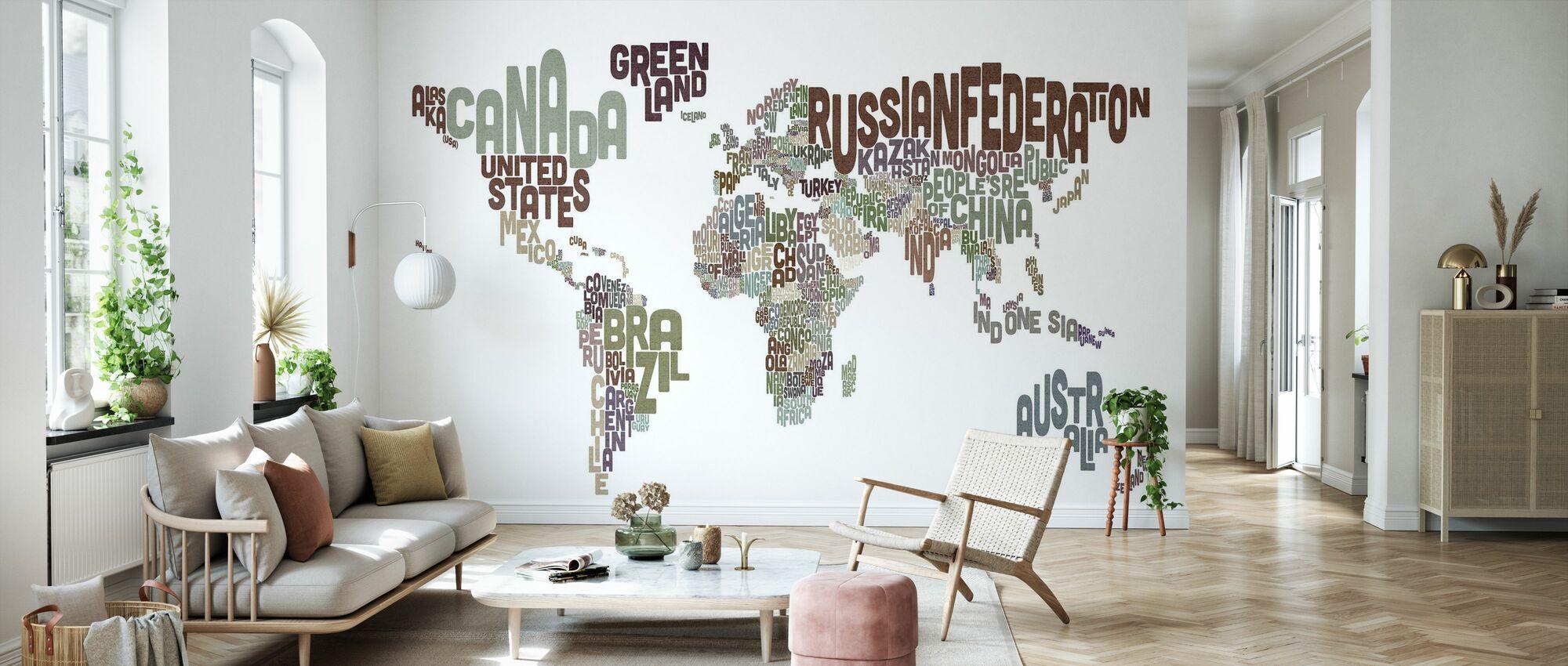 Texto Tipográfico Mapa del Mundo Marrón - Papel pintado - Salón
