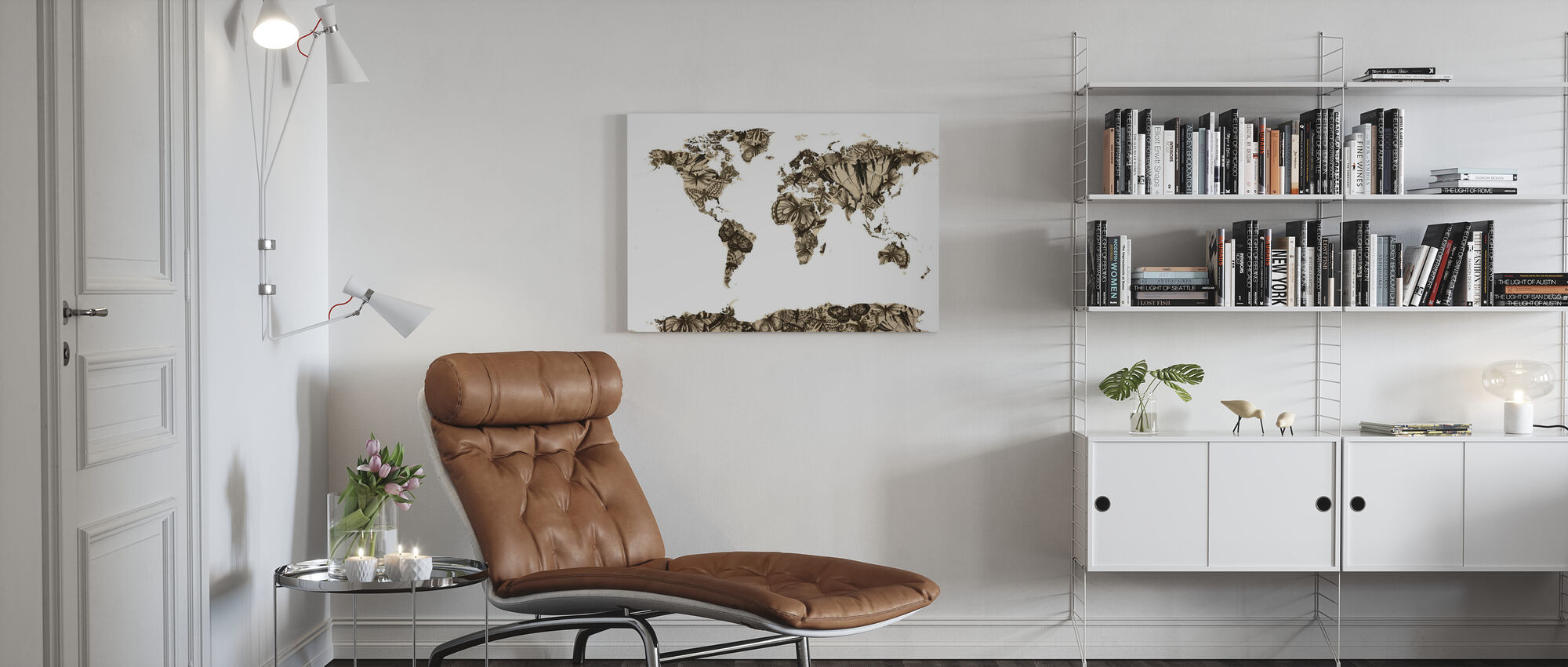 Butterfly Wereld Kaart - Canvas print - Woonkamer