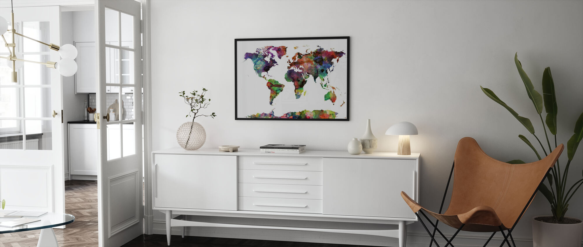 Watercolor World Map Multicolor - Poster - Living Room