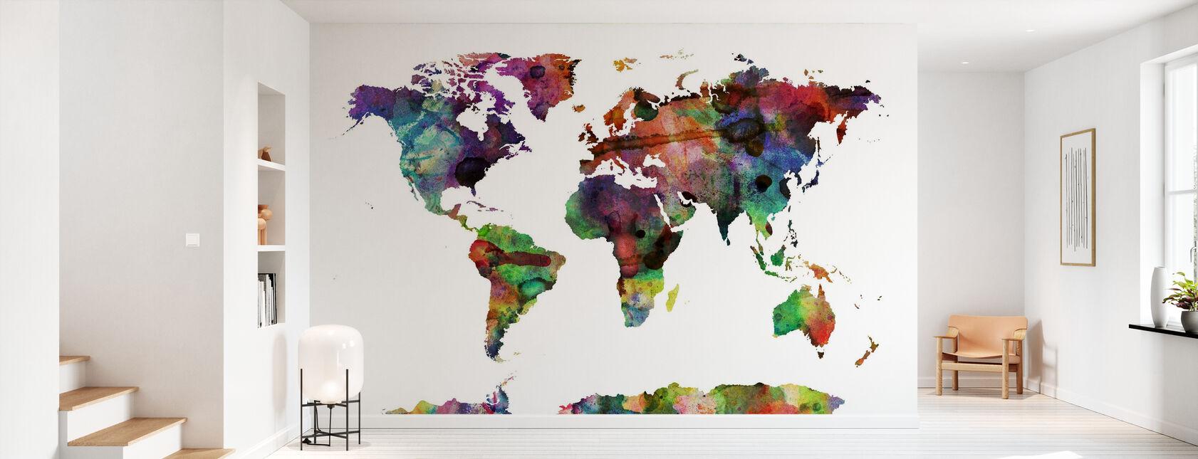 Akvarell världskarta Multicolor - Tapet - Hall