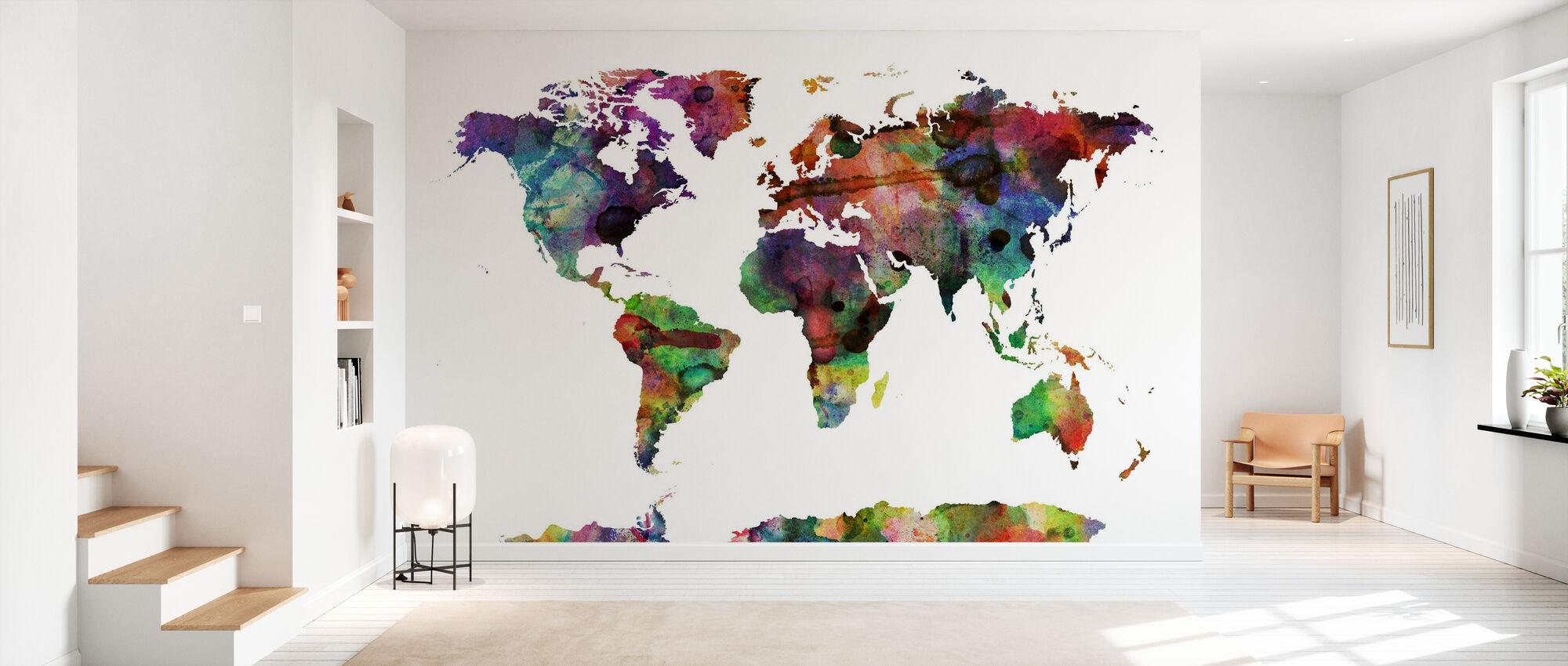 Watercolor World Map Multicolor - Wallpaper - Hallway