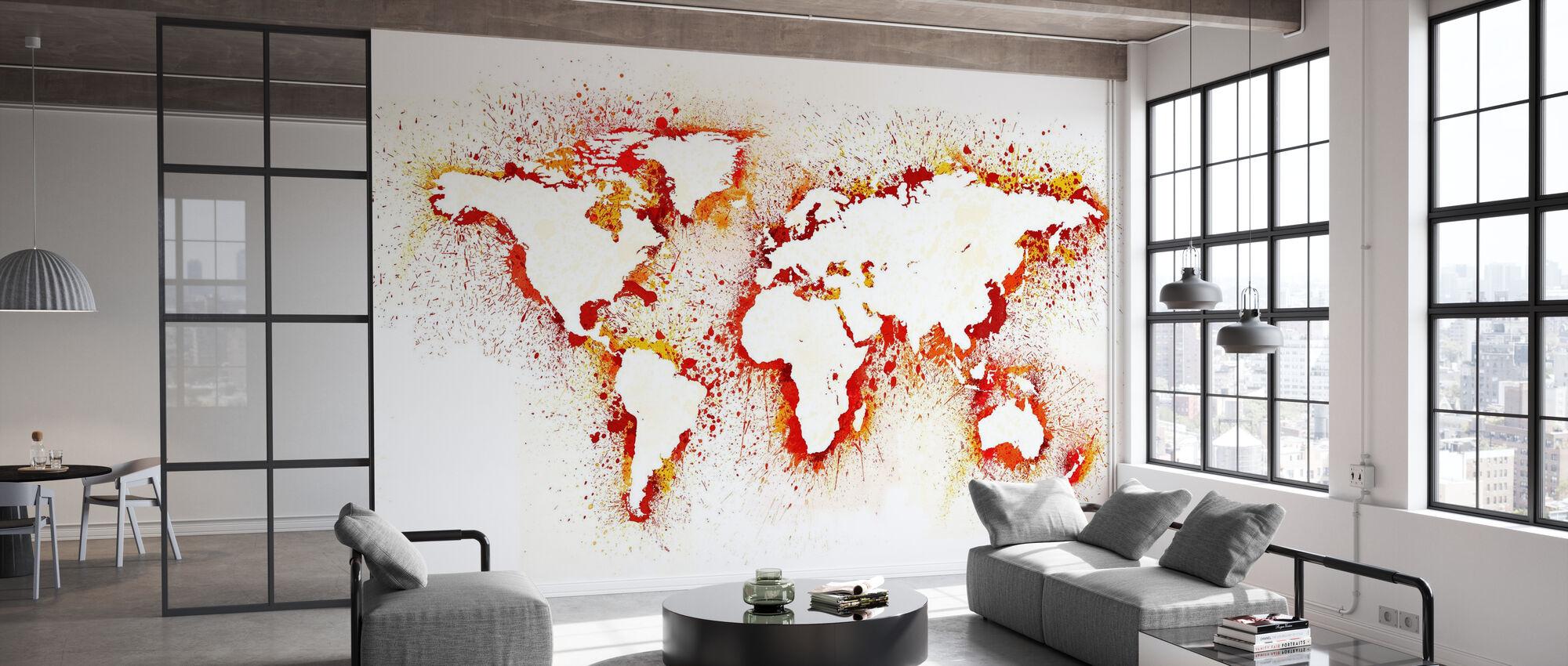 Mapa del mundo abstracto - Papel pintado - Oficina