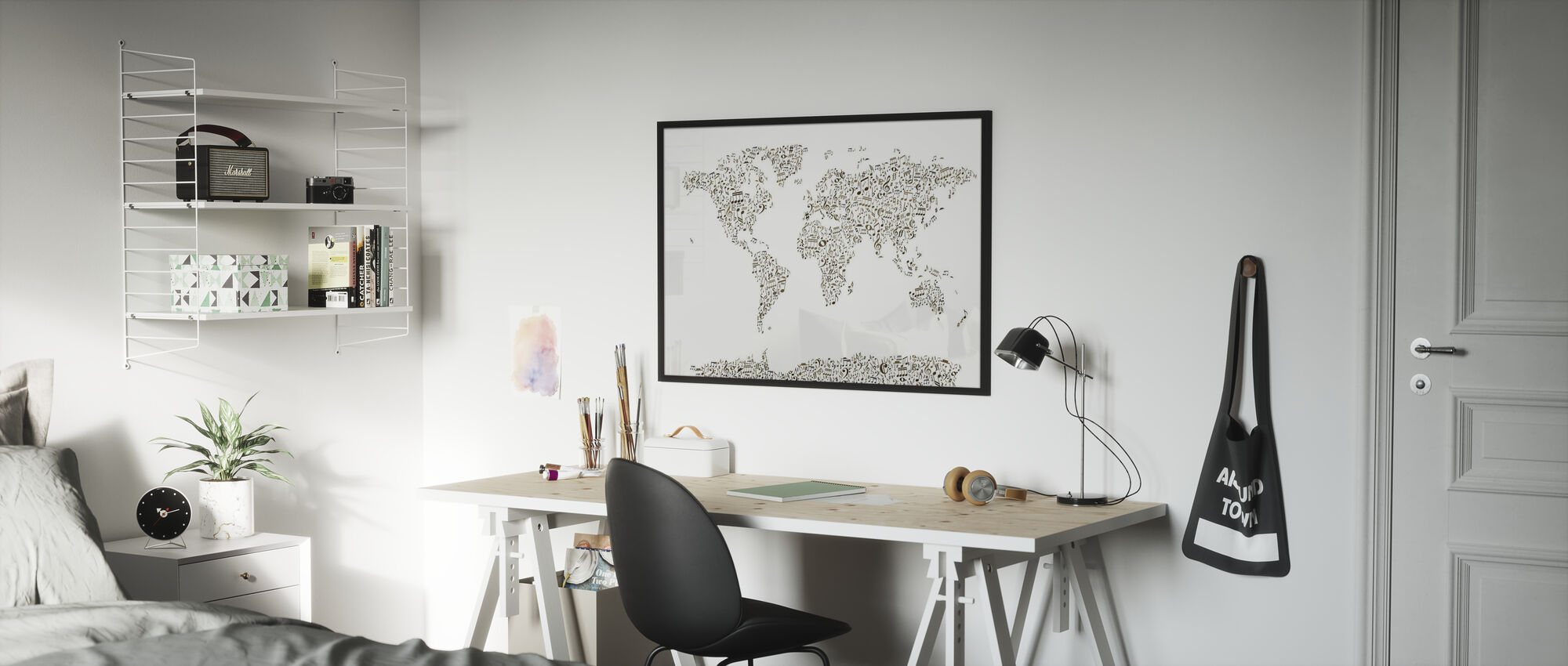 Music Notes World Map - Poster - Kids Room