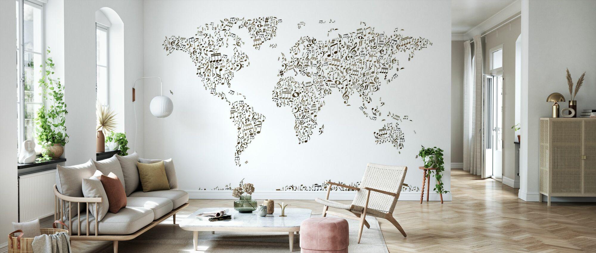 Music Notes Mapa Mundial - Papel pintado - Salón