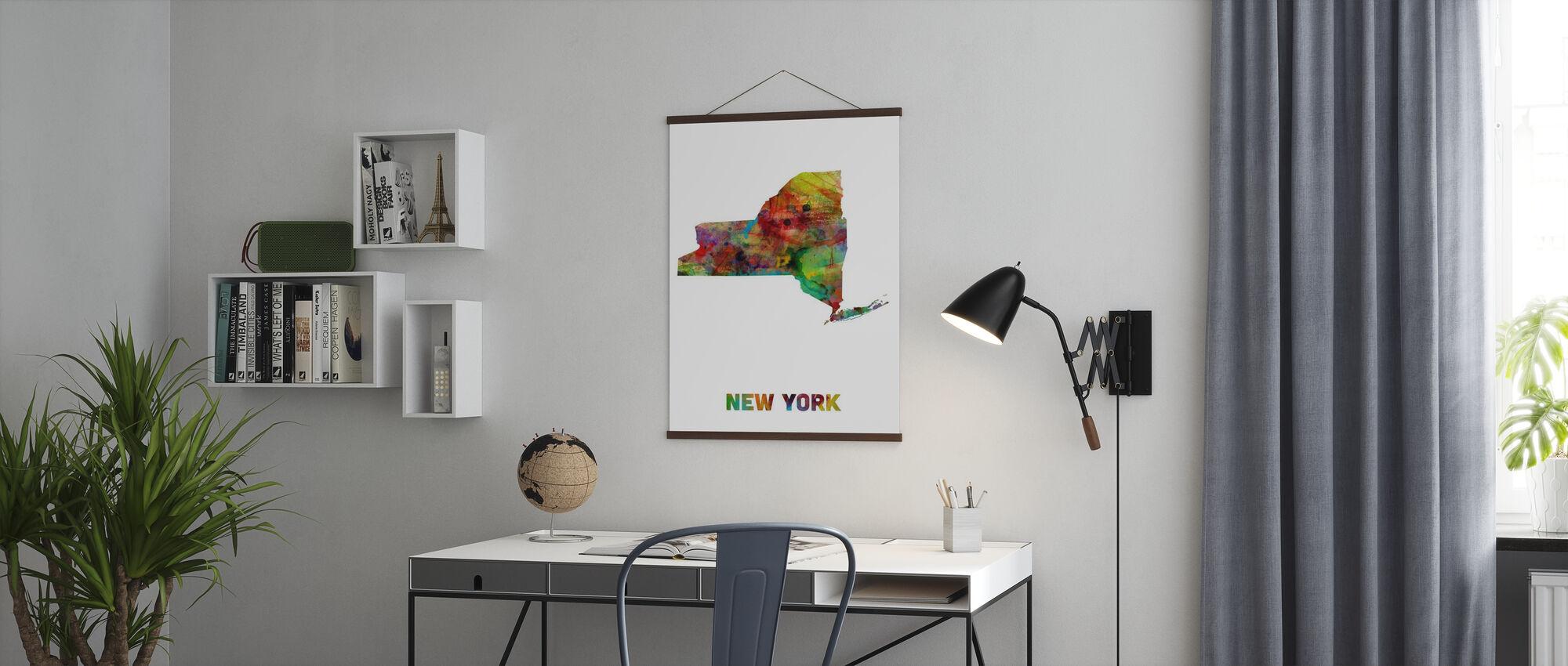 Carte de l'État de New York - Affiche - Bureau