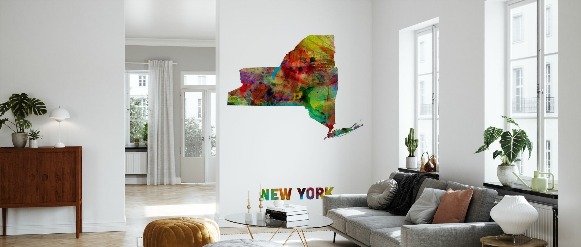 New York State Map - Wallpaper - Living Room