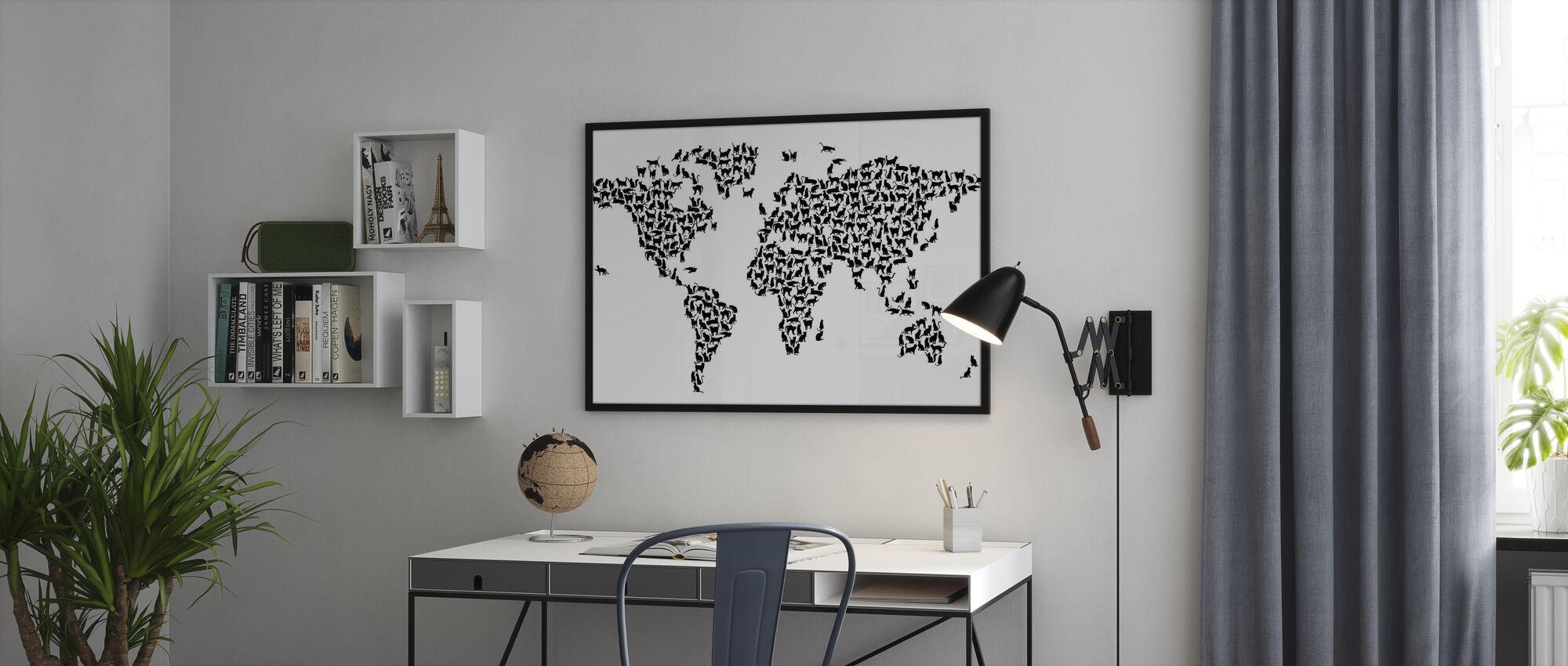Katzen Weltkarte Schwarz - Poster - Büro