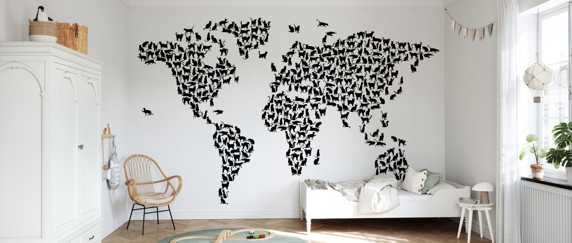 Katzen Weltkarte Schwarz - Tapete - Kinderzimmer