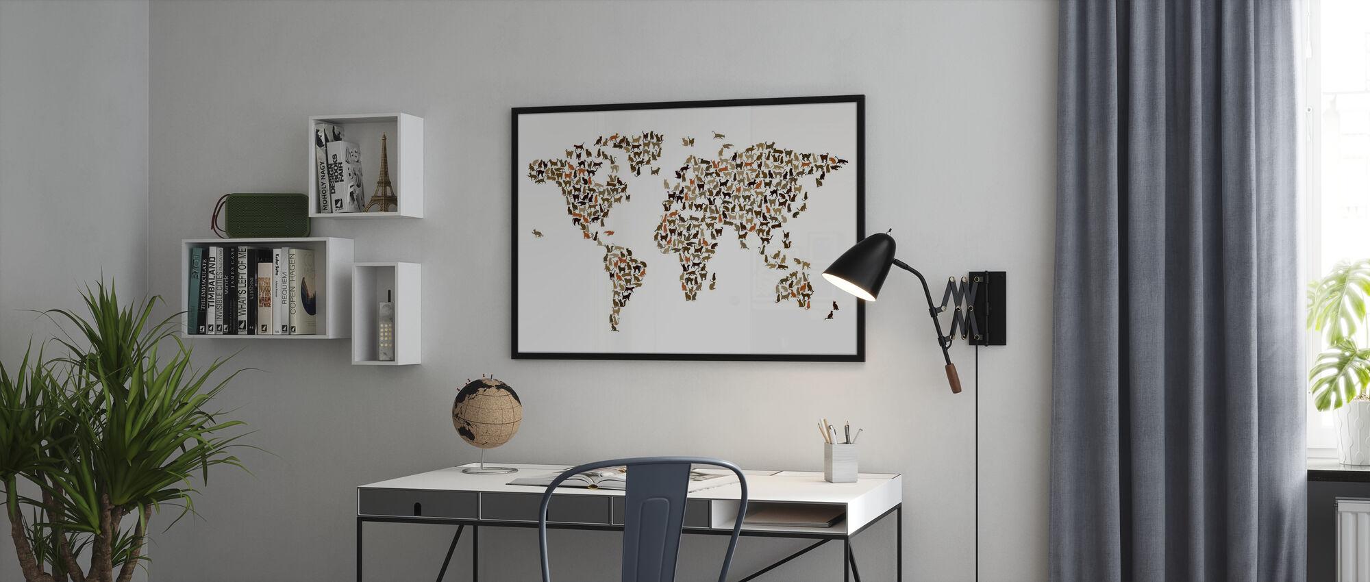 Cats Weltkarte - Gerahmtes bild - Büro