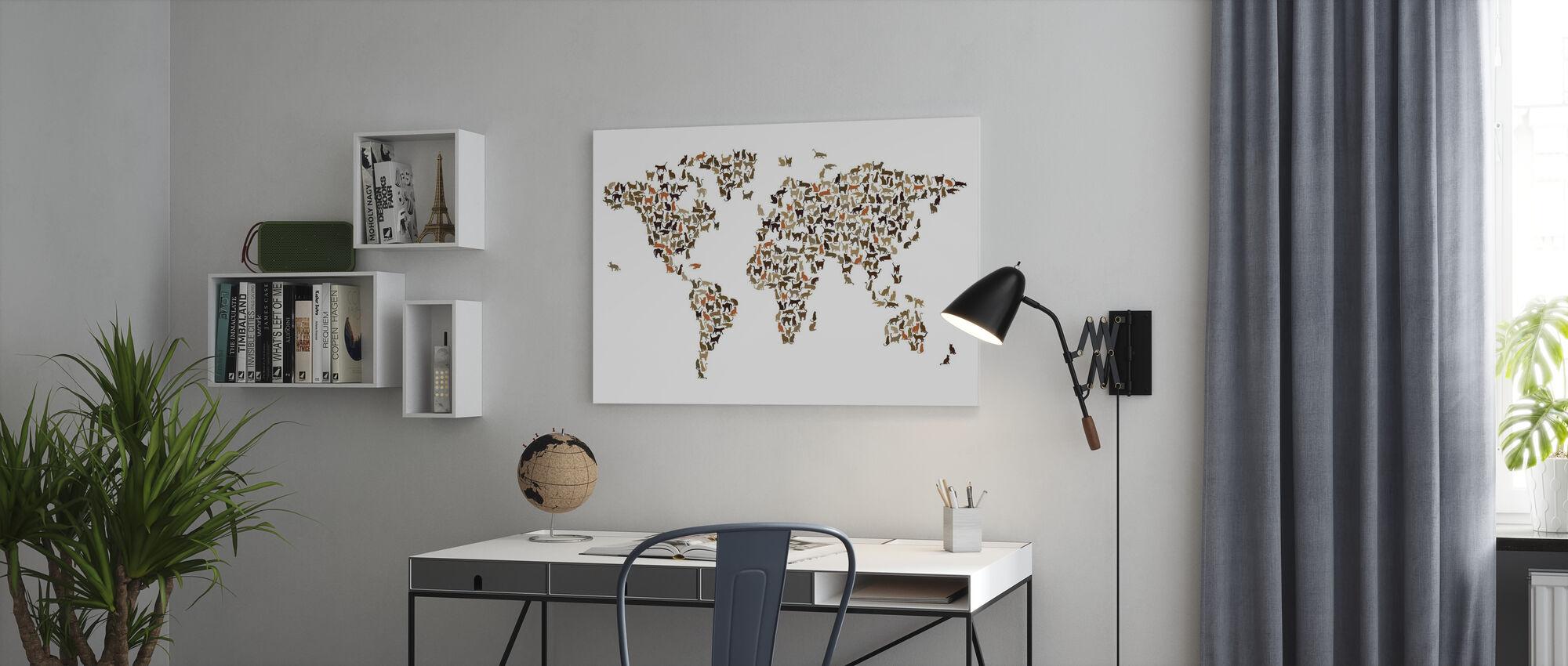 Katte verdenskort - Billede på lærred - Kontor