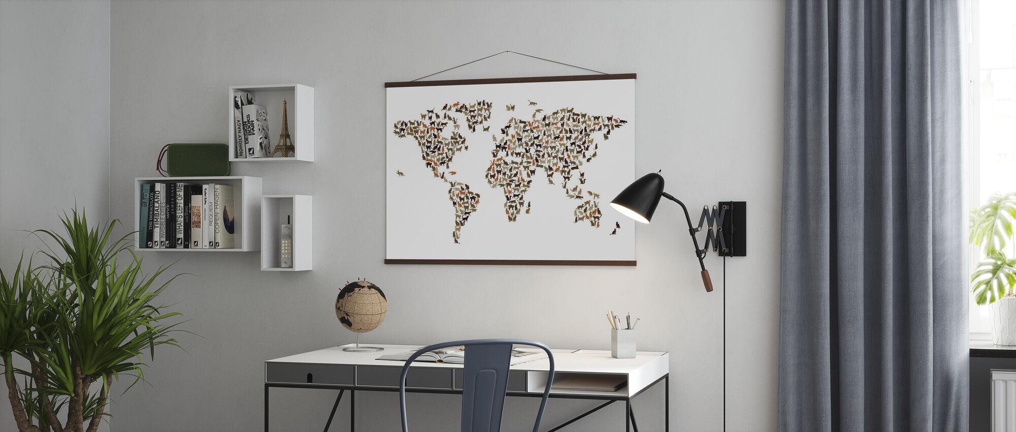 Katten Wereld Kaart - Poster - Kantoor